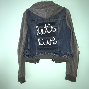 distressed hand painted jean jacket